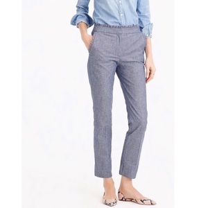 J. Crew Cropped Chambray Denim Ruffle Pants Blue